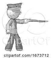 Sketch Police Man Pointing With Hiking Stick