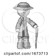Sketch Detective Man Standing With Hiking Stick