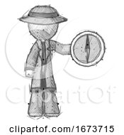 Sketch Detective Man Holding A Large Compass