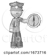 Sketch Police Man Holding A Large Compass