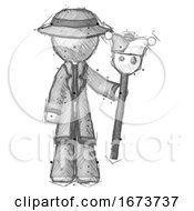 Sketch Detective Man Holding Jester Staff