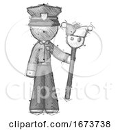 Poster, Art Print Of Sketch Police Man Holding Jester Staff