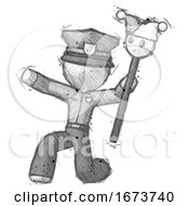 Poster, Art Print Of Sketch Police Man Holding Jester Staff Posing Charismatically