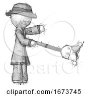Poster, Art Print Of Sketch Detective Man Holding Jesterstaff - I Dub Thee Foolish Concept