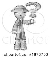 Sketch Detective Man Holding Question Mark To Right