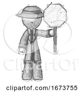 Sketch Detective Man Holding Stop Sign