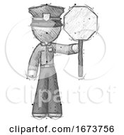 Sketch Police Man Holding Stop Sign