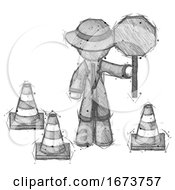 Sketch Detective Man Holding Stop Sign By Traffic Cones Under Construction Concept