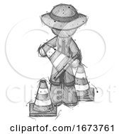 Sketch Detective Man Holding A Traffic Cone