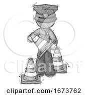 Sketch Police Man Holding A Traffic Cone