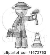 Sketch Detective Man Under Construction Concept Traffic Cone And Tools