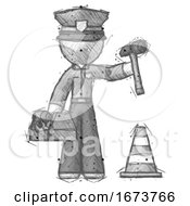 Sketch Police Man Under Construction Concept Traffic Cone And Tools