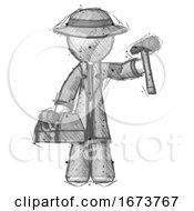 Sketch Detective Man Holding Tools And Toolchest Ready To Work