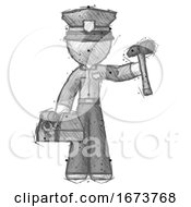 Sketch Police Man Holding Tools And Toolchest Ready To Work
