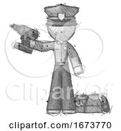 Sketch Police Man Holding Drill Ready To Work Toolchest And Tools To Right