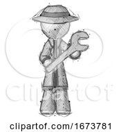 Sketch Detective Man Holding Large Wrench With Both Hands