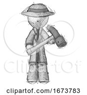 Sketch Detective Man Holding Hammer Ready To Work