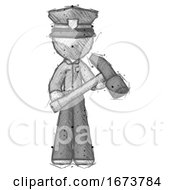 Sketch Police Man Holding Hammer Ready To Work
