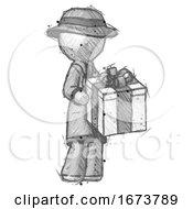 Sketch Detective Man Giving A Present