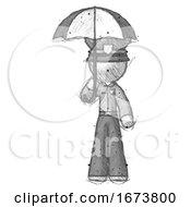 Sketch Police Man Holding Umbrella