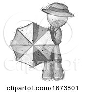 Sketch Detective Man Holding Rainbow Umbrella Out To Viewer