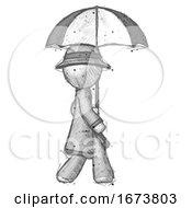 Sketch Detective Man Woman Walking With Umbrella