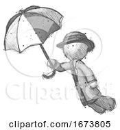 Sketch Detective Man Flying With Umbrella