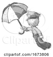 Sketch Police Man Flying With Umbrella