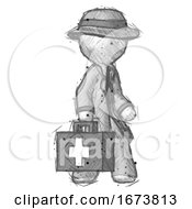 Sketch Detective Man Walking With Medical Aid Briefcase To Right