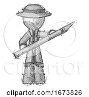Poster, Art Print Of Sketch Detective Man Holding Large Scalpel