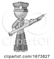 Poster, Art Print Of Sketch Police Man Holding Large Scalpel