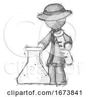 Sketch Detective Man Holding Test Tube Beside Beaker Or Flask