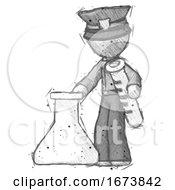 Sketch Police Man Holding Test Tube Beside Beaker Or Flask