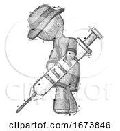 Sketch Detective Man Using Syringe Giving Injection
