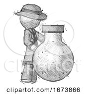Sketch Detective Man Standing Beside Large Round Flask Or Beaker