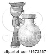 Sketch Police Man Standing Beside Large Round Flask Or Beaker