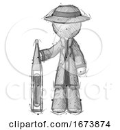 Sketch Detective Man Standing With Large Thermometer