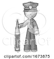 Sketch Police Man Standing With Large Thermometer