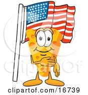 Clipart Picture Of A Wedge Of Orange Swiss Cheese Mascot Cartoon Character Pledging Allegiance To The American Flag by Toons4Biz