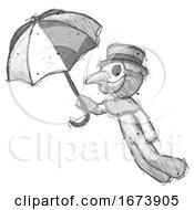 Sketch Plague Doctor Man Flying With Umbrella