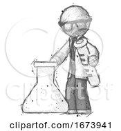 Sketch Doctor Scientist Man Holding Test Tube Beside Beaker Or Flask