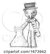 Sketch Plague Doctor Man Holding Test Tube Beside Beaker Or Flask