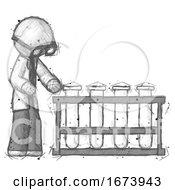 Sketch Doctor Scientist Man Using Test Tubes Or Vials On Rack