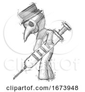 Sketch Plague Doctor Man Using Syringe Giving Injection