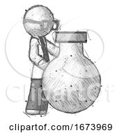 Sketch Doctor Scientist Man Standing Beside Large Round Flask Or Beaker