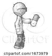 Sketch Doctor Scientist Man Holding Pill Walking To Right