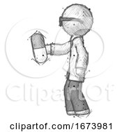 Sketch Doctor Scientist Man Holding Pill Walking To Left