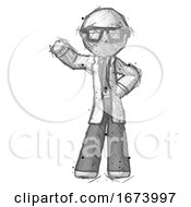 Sketch Doctor Scientist Man Waving Right Arm With Hand On Hip