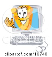 Wedge Of Orange Swiss Cheese Mascot Cartoon Character Waving From Inside A Computer Screen