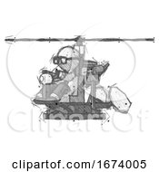 Sketch Doctor Scientist Man Flying In Gyrocopter Front Side Angle View